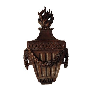 Louis XVI Period carved Oak Urn with Flame
