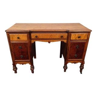 Antique Carved Cherry Wood & Oak Desk