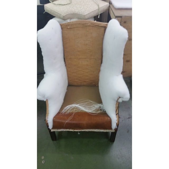 Refurbished Genuine Leather Wing Chair - Image 5 of 7