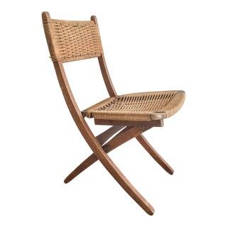 Hans Wegner-Style Wood & Rush Folding Chair