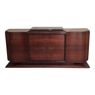 Antique French Solid Mahogany Credenza With an Italian Marble Top