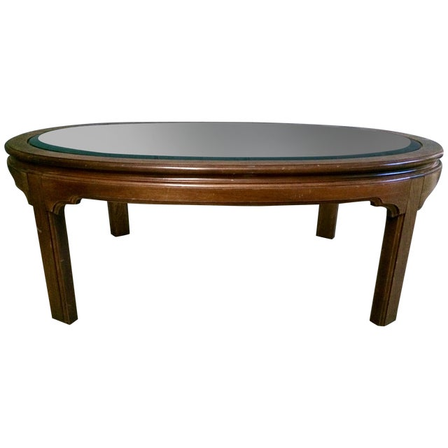 Oval Coffee Table Antique: Vintage Large Oval Wood & Glass Coffee Table