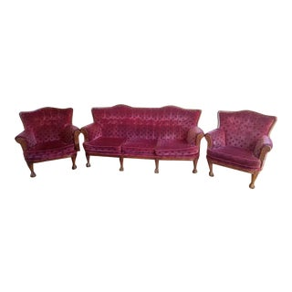 Antique Red Sofa Set- 3 Pieces