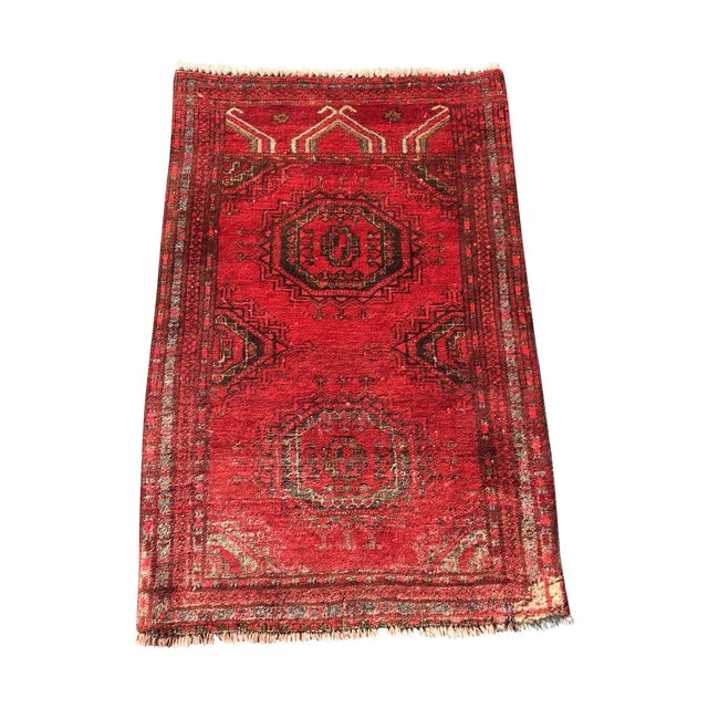 """Antique Turkaman Red Persian Rug - 1'10"""" x 2'10"""" - Image 1 of 7"""