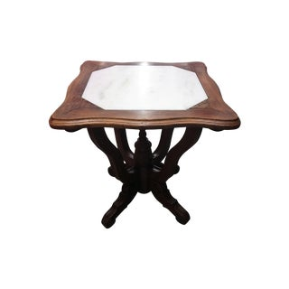 Antique Ornate Carved Entry Table with Marble Top