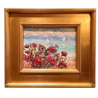 "Sarah Kadlic ""Abstract Red Wildflowers Seascape"" Original Oil Painting"