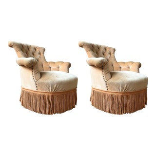Pair of Tufted French Armchairs with Fringe