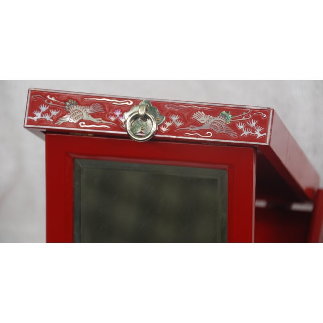 Red Lacquered Asian Jewelry Box - Image 6 of 9