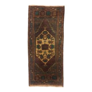Vintage Turkish Tribal Brown Wool Rug- 1′9″ × 3′10″