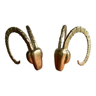 Brass Ram Horn Bookends- A Pair