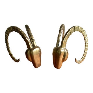 Brass Ram Horn Bookends- A Pair