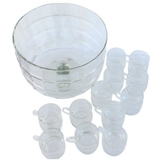 Glass Pedestal Punch Bowl with Twelve Cups
