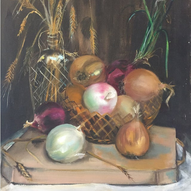 Oil on Canvas Still Life Onion Painting - Image 2 of 2