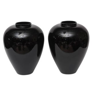 Barovier E Toso Murano Large Black Vases - a Pair