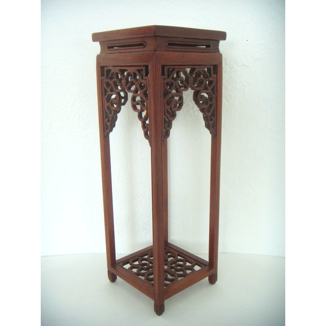 Ornate Chinese Rosewood Display Stand - Image 3 of 8