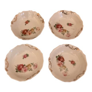 Small Gold & Floral Motif Plates - Set of Four