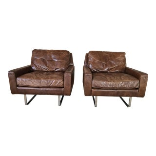 Timothy Oulton Modern Leather Club Chairs - A Pair