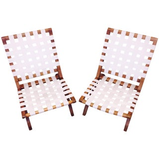 Mid-Century Strap Lounge Chairs - A Pair