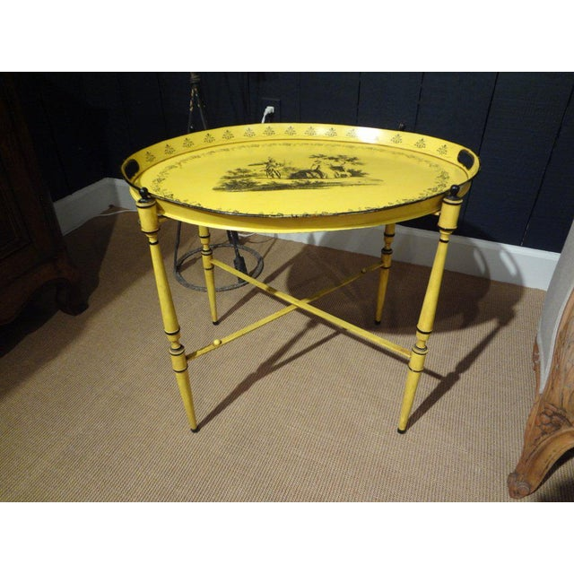 Italian Neoclassical Style Tole Tray Table - Image 6 of 7