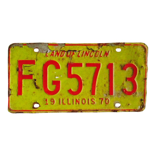 Image of Vintage Lincoln Illinois License Plate 1970