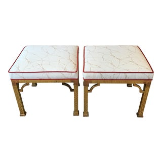 Vintage Gold Marbleized Cushion Brass Stools - a Pair