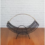 Image of Mid-Century Modern Black Wire Mesh Magazine Rack