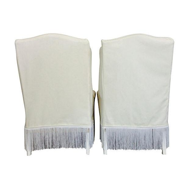 1970s Slipcover White Wingback Chairs- A Pair - Image 2 of 4