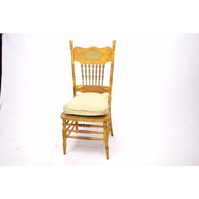 Antique Yellow Painted Chair - Image 4 of 6