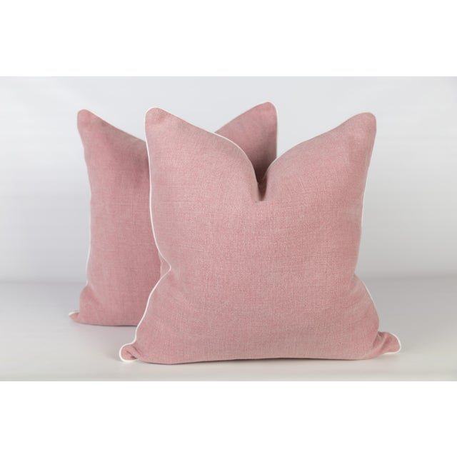 Pink Linen & Ivory Greek Key Pillows - A Pair - Image 4 of 5