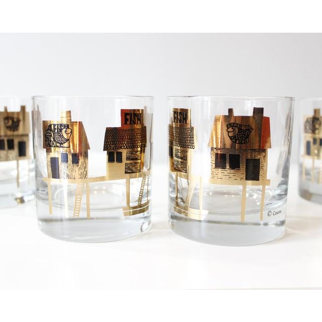 Black & Gold Couroc Mid-Century Fish Glasses - Set of 4 - Image 4 of 5