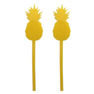 Yellow Pineapple Drink Stirrers - Set of 6