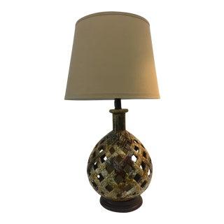 1970s Woven Pattern Pottery Lamp