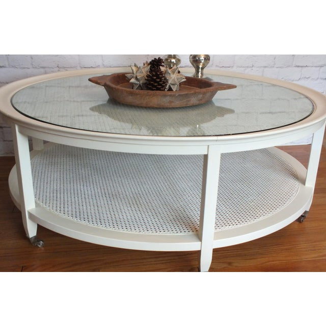 Mid-Century Round White Caned Coffee Table - Image 3 of 11