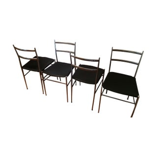 Gio Ponti Aluminum & Leather Chairs - Set of 4