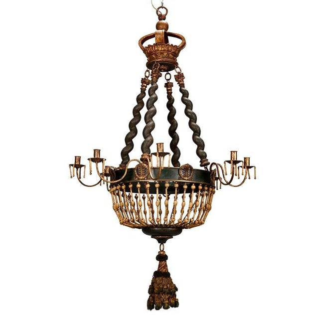 19th Century Custom Eight Arm Chandelier With Italian Crown - Image 1 of 8