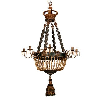 19th Century Custom Eight Arm Chandelier With Italian Crown