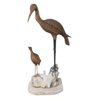 Carved Dirftwood Crane & Duck Bird Statue