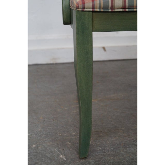 Ethan Allen Country Green Painted Arm Chair - Image 9 of 11