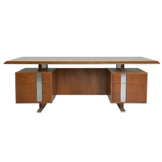 Walnut & Chrome Floating Executive Desk