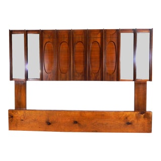 Mid-Century Brutalist Wood & Mirrored Queen Headboard