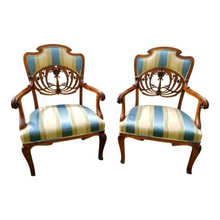 1920 Art Nouveau Chairs From Barbara Streisand Collection - A Pair