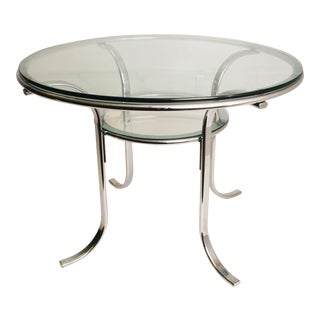 Mid-Century Modern Chrome & Glass Dining Table