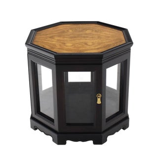 Hexagon Black with Burl Wood Top Cabinet Side Table