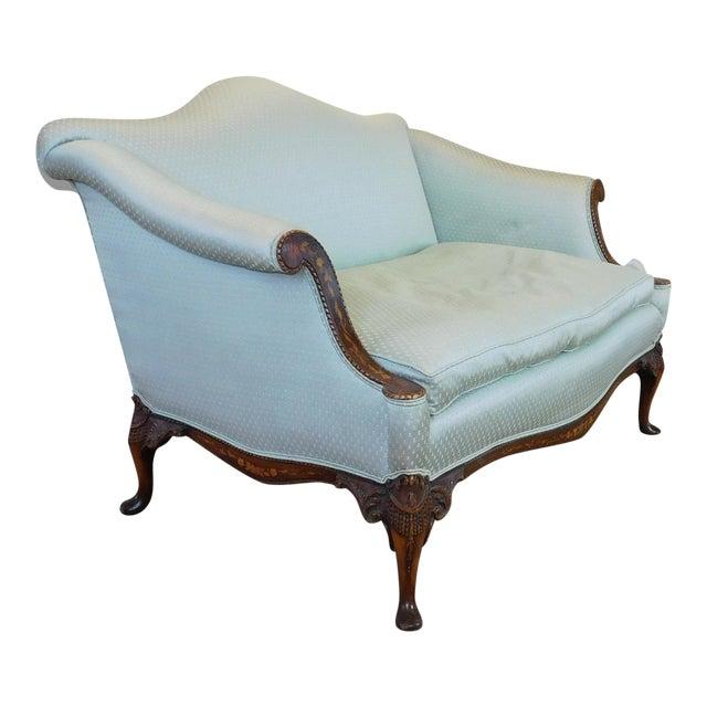 baker furniture inlaid mahogany sheraton style upholstered