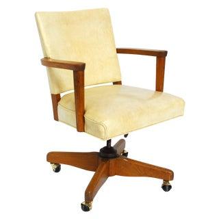 Vintage Cream Vinyl Swivel Office Chair