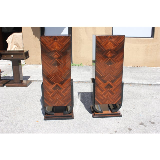French Art Deco Macassar Ebony Pedestals - A Pair - Image 4 of 10