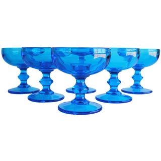 Vintage Turquoise Coupes, Set of 6