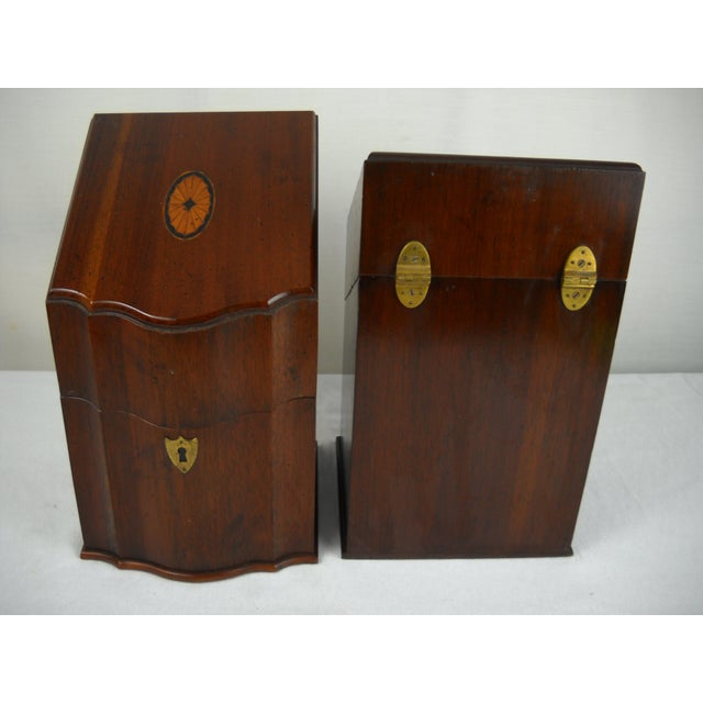 Georgian-Style Inlaid Knife Boxes - A Pair - Image 7 of 10
