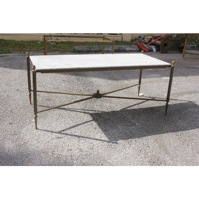 Long Maison Jansen Coffee Or Cocktail Table Bronze Rectangular With Marble Top Circa 1940s - Image 11 of 11