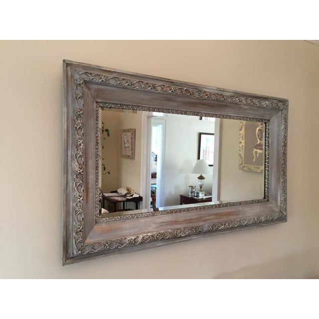 Vintage French Shabby Chic Gray & White Mirror - Image 2 of 4